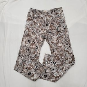 Talbots Brown Print Fully Lined Cotton Pants Sz 12
